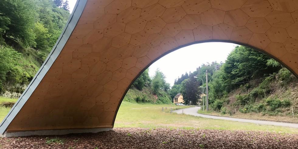 Innenansicht des Holzpavillons Foto: Pirmin Jung
