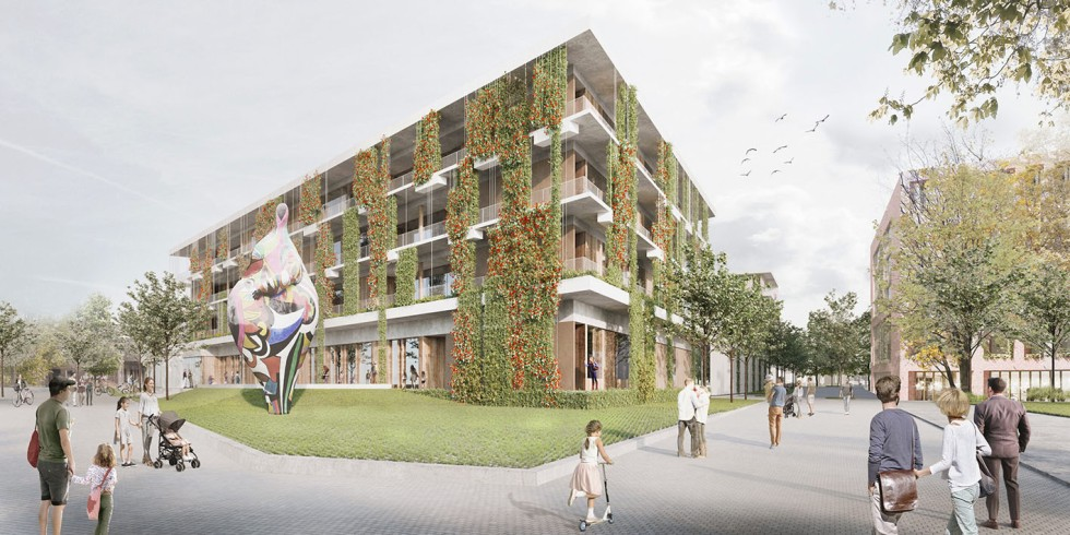 Das derzeit größte Stuttgarter Schulprojekt. Die Ansicht Nord zeigt das Bildungshaus vom Marga-von-Etzdorf-Platz aus. Grafik: Glück + Partner