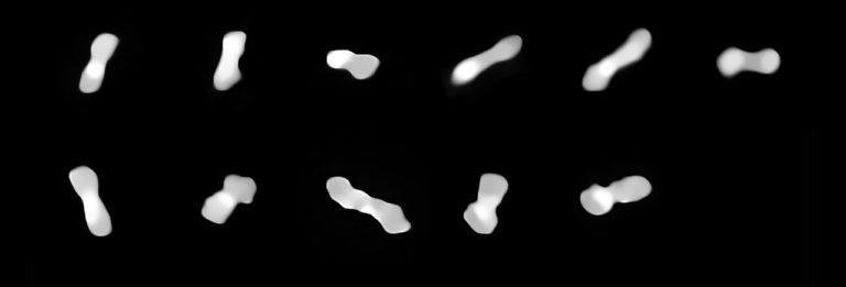 Wie ein Hundeknochen ist der Asteroid Kleopatra geformt. Weil er rotiert, zeigen ihn die Bilder des VLT, die über zwei Jahre hinweg entstanden, aus unterschiedlichen Perspektiven. Foto: Eso