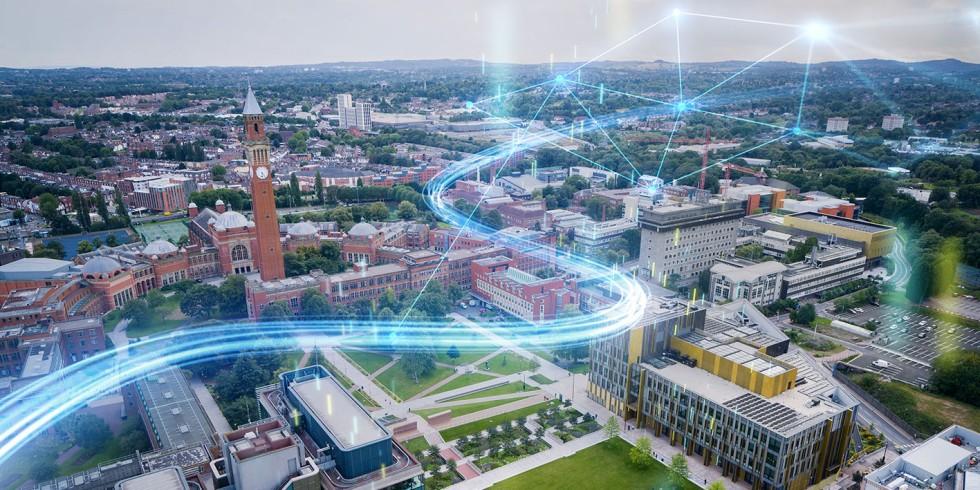 Durch den Einsatz von Künstlicher Intelligenz und vernetzter Senortechnik soll der Edgbaston-Campus der Universität Birmingham zum intelligentesten Campus der Welt werden. Foto: Siemens
