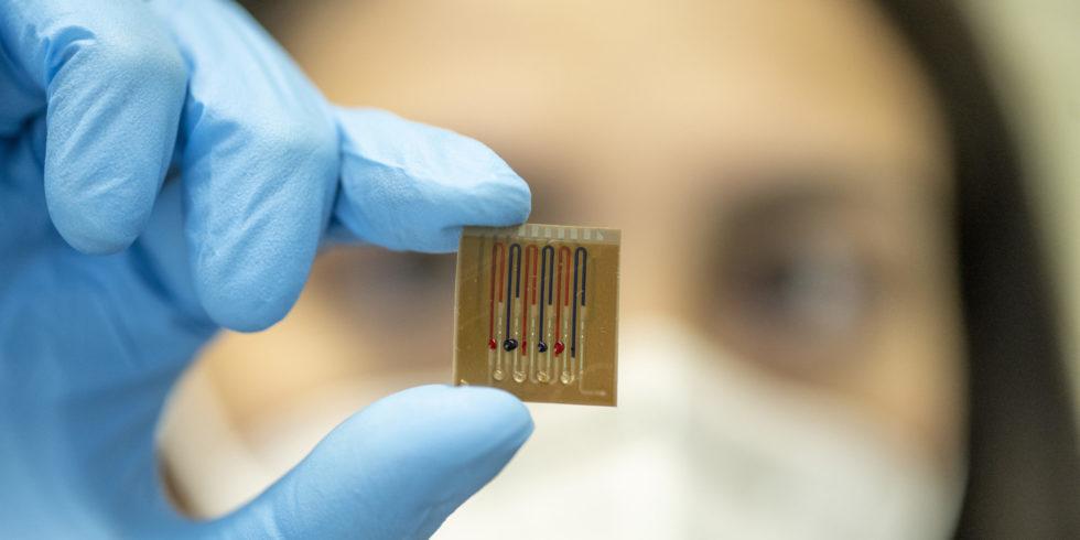 Mikrofluidik-Multiplex-Biosensor in Hand