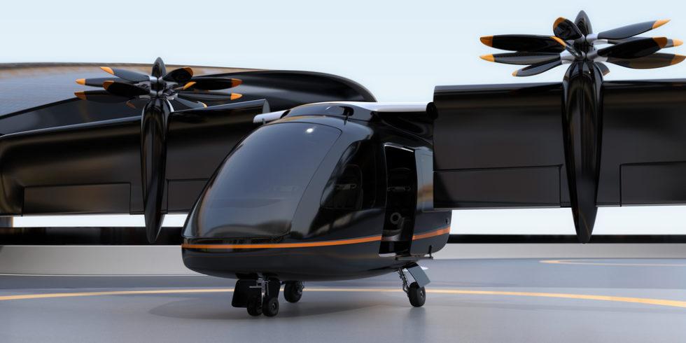 Ein sogenanntes Evtol-Flugzeug, das senkrecht starten und landen kann uns als Flugtaxi geeignet ist. Foto: Panthermedia.net
