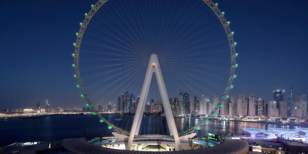 Beginnt sich in Kürze zu drehen: Für die Energieversorgung der 48 Luxus-Kabinen des weltweit größten Riesenrades Ain Dubai sorgen Vahle Stromschienen Systeme. Foto: Ain Dubai