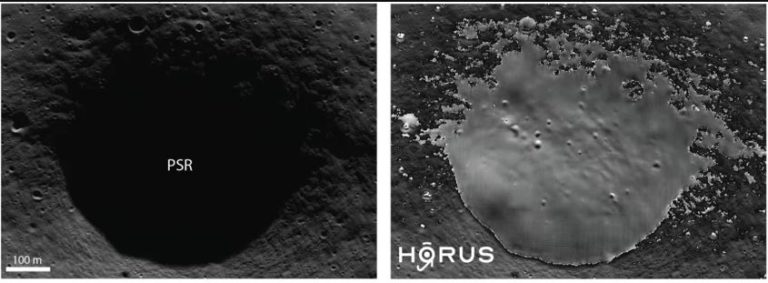 Dieser Krater auf dem Mond könnte ein interessantes Gebiet für künftige Missionen sein. Das linke Bild zeigt eine Aufnahme der Mondsonde Lunar Reconnaissance Orbiter. Das Innere des Kraters ist nicht erkennbar. Das rechte Bild zeigt dieselbe Aufnahme, nachdem sie mit dem Computeralgorithmus HORUS bearbeitet wurde. Foto: NASA/LROC/GSFC/ASU; Rechts: MPS/University of Oxford/NASA Ames Research Center/FDL/SETI Institute