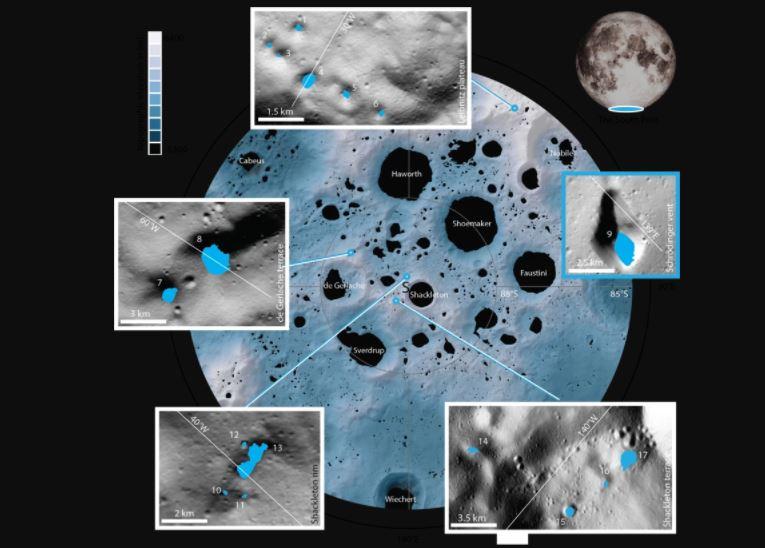 Klare Bilder dank KI: Die 17 neu untersuchten verschatteten Krater und Senken befinden sich in der Nähe des Südpols. Das kleinste Gebiet hat eine Fläche von nur 0,18 Quadratkilometern hat, das größte misst 54 Quadratkilometer. Foto:<br />MPS/University of Oxford/NASA Ames Research Center/FDL/SETI