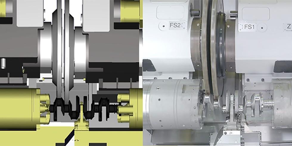 Virtuelle Simulation eines vollständigen Bearbeitungsablaufes und Überführung auf das reale System im Bearbeitungsraum der Werkzeugmaschine. Grafik: NSH