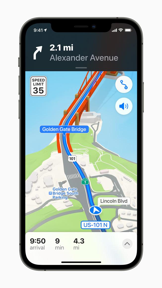 Apple Karten bietet realistischere und farbigere Details. Foto: Apple