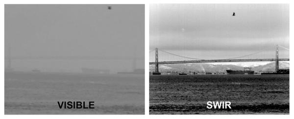 Aufnahme der Bucht von San Francisco im sichtbaren Licht (links) und im kurzwelligen Infrarot (rechts) Foto: NASA