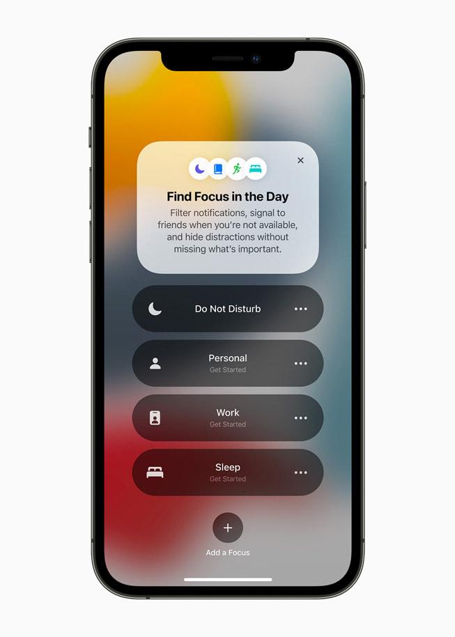 Fokus hilft Mitteilungen zu filtern und Ablenkungen zu reduzieren, indem ein eigener Fokus eingestellt wird. Foto: Apple