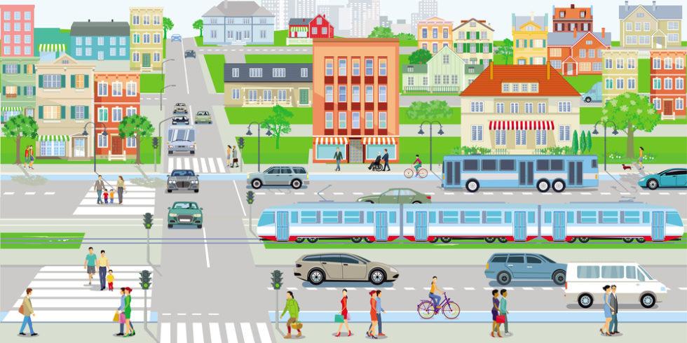 Autos und Fußgänger