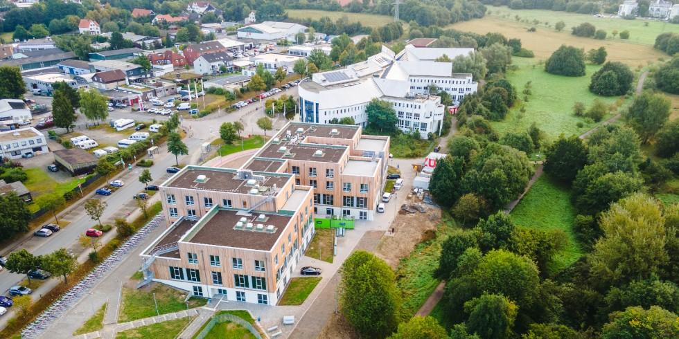 Campuserweiterung: Der Neubau der Universität Witten/Herdecke wurde  in Holzhybridbauweise realisiert. Foto: Züblin / Johannes Buldmann
