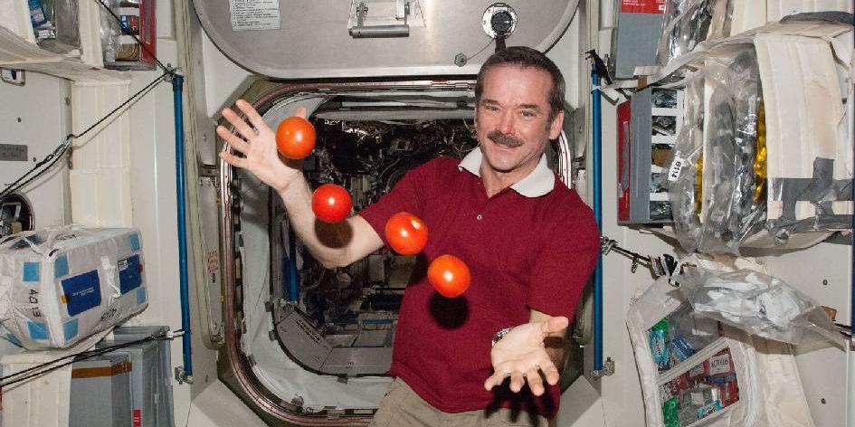 Astronaut Christ Hadfield hat Spaß mit Tomaten und Schwerelosigkeit: Doch warum ist man eigentlich schwerelos auf der Internationalen Raumstation ISS? Foto: Nasa