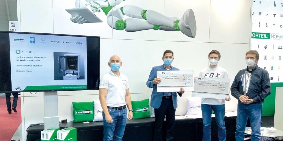 Auf dem Norelem Messestand der Fachmesse Motek kürte die Norelem Academy die Gewinner des Engineering Newcomer 2021. Foto: Norelem