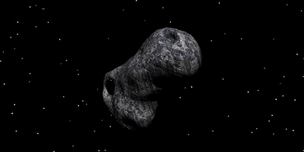 Asteroid im All schwarzer Hintergrund